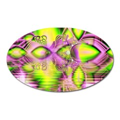 Raspberry Lime Mystical Magical Lake, Abstract  Magnet (Oval)