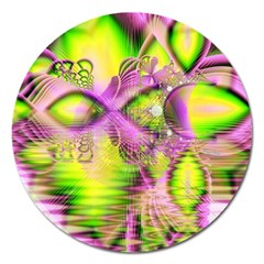 Raspberry Lime Mystical Magical Lake, Abstract  Magnet 5  (Round)