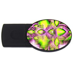 Raspberry Lime Mystical Magical Lake, Abstract  1GB USB Flash Drive (Oval)