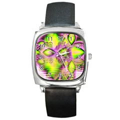 Raspberry Lime Mystical Magical Lake, Abstract  Square Leather Watch