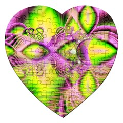 Raspberry Lime Mystical Magical Lake, Abstract  Jigsaw Puzzle (Heart)