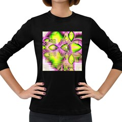 Raspberry Lime Mystical Magical Lake, Abstract  Women s Long Sleeve T Shirt (dark Colored)