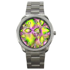 Raspberry Lime Mystical Magical Lake, Abstract  Sport Metal Watch