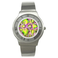 Raspberry Lime Mystical Magical Lake, Abstract  Stainless Steel Watch (Slim)