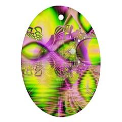 Raspberry Lime Mystical Magical Lake, Abstract  Oval Ornament (Two Sides)