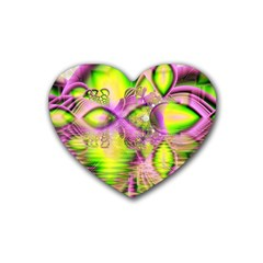 Raspberry Lime Mystical Magical Lake, Abstract  Drink Coasters 4 Pack (Heart)