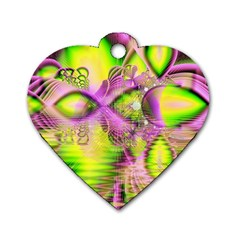 Raspberry Lime Mystical Magical Lake, Abstract  Dog Tag Heart (Two Sided)