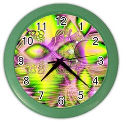 Raspberry Lime Mystical Magical Lake, Abstract  Wall Clock (Color)