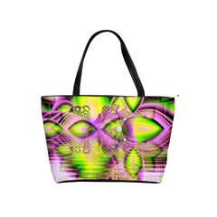 Raspberry Lime Mystical Magical Lake, Abstract  Large Shoulder Bag