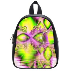 Raspberry Lime Mystical Magical Lake, Abstract  School Bag (Small)