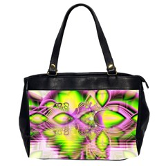 Raspberry Lime Mystical Magical Lake, Abstract  Oversize Office Handbag (Two Sides)