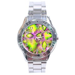 Raspberry Lime Mystical Magical Lake, Abstract  Stainless Steel Watch