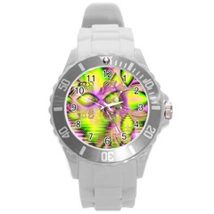 Raspberry Lime Mystical Magical Lake, Abstract  Plastic Sport Watch (Large)