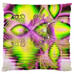 Raspberry Lime Mystical Magical Lake, Abstract  Large Cushion Case (Two Sided)