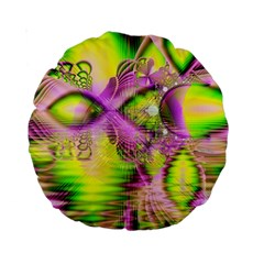 Raspberry Lime Mystical Magical Lake, Abstract  15  Premium Round Cushion