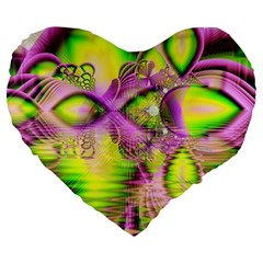 Raspberry Lime Mystical Magical Lake, Abstract  19  Premium Heart Shape Cushion