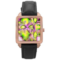 Raspberry Lime Mystical Magical Lake, Abstract  Rose Gold Leather Watch