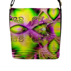Raspberry Lime Mystical Magical Lake, Abstract  Flap Closure Messenger Bag (large)