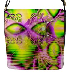 Raspberry Lime Mystical Magical Lake, Abstract  Flap Closure Messenger Bag (Small)