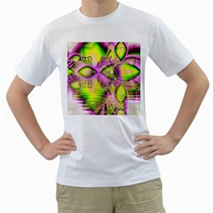 Raspberry Lime Mystical Magical Lake, Abstract  Men s T Shirt (white)