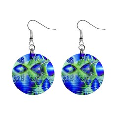 Irish Dream Under Abstract Cobalt Blue Skies Mini Button Earrings