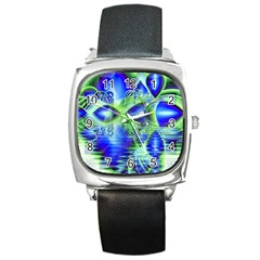 Irish Dream Under Abstract Cobalt Blue Skies Square Leather Watch