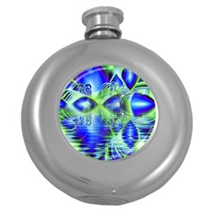 Irish Dream Under Abstract Cobalt Blue Skies Hip Flask (Round)