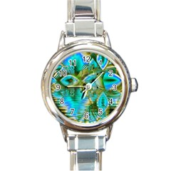 Crystal Gold Peacock, Abstract Mystical Lake Round Italian Charm Watch