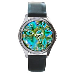 Crystal Gold Peacock, Abstract Mystical Lake Round Leather Watch (silver Rim)