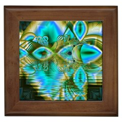 Crystal Gold Peacock, Abstract Mystical Lake Framed Ceramic Tile