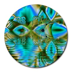Crystal Gold Peacock, Abstract Mystical Lake 8  Mouse Pad (Round)