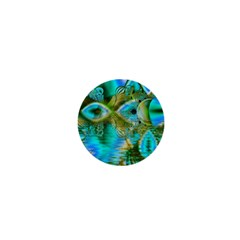 Crystal Gold Peacock, Abstract Mystical Lake 1  Mini Button