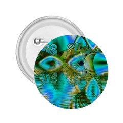 Crystal Gold Peacock, Abstract Mystical Lake 2.25  Button