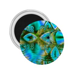 Crystal Gold Peacock, Abstract Mystical Lake 2 25  Button Magnet