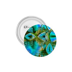 Crystal Gold Peacock, Abstract Mystical Lake 1.75  Button