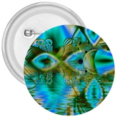 Crystal Gold Peacock, Abstract Mystical Lake 3  Button