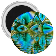 Crystal Gold Peacock, Abstract Mystical Lake 3  Button Magnet
