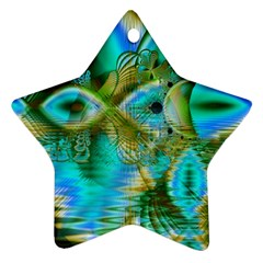 Crystal Gold Peacock, Abstract Mystical Lake Star Ornament