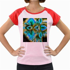 Crystal Gold Peacock, Abstract Mystical Lake Women s Cap Sleeve T-Shirt (Colored)