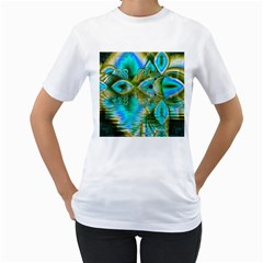 Crystal Gold Peacock, Abstract Mystical Lake Women s Two-sided T-shirt (White)