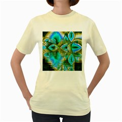 Crystal Gold Peacock, Abstract Mystical Lake Women s T-shirt (Yellow)