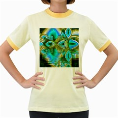 Crystal Gold Peacock, Abstract Mystical Lake Women s Ringer T-shirt (Colored)