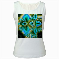 Crystal Gold Peacock, Abstract Mystical Lake Women s Tank Top (White)