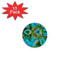 Crystal Gold Peacock, Abstract Mystical Lake 1  Mini Button (10 pack)