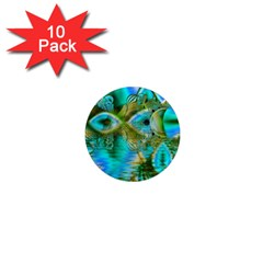 Crystal Gold Peacock, Abstract Mystical Lake 1  Mini Button Magnet (10 pack)