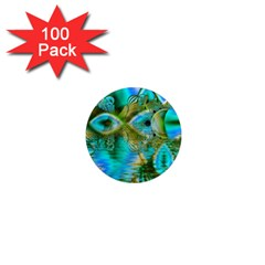 Crystal Gold Peacock, Abstract Mystical Lake 1  Mini Button Magnet (100 pack)