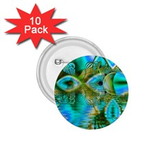 Crystal Gold Peacock, Abstract Mystical Lake 1 75  Button (10 Pack)
