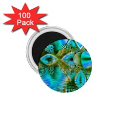 Crystal Gold Peacock, Abstract Mystical Lake 1.75  Button Magnet (100 pack)