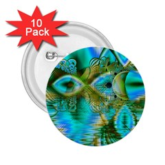 Crystal Gold Peacock, Abstract Mystical Lake 2.25  Button (10 pack)