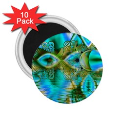 Crystal Gold Peacock, Abstract Mystical Lake 2.25  Button Magnet (10 pack)